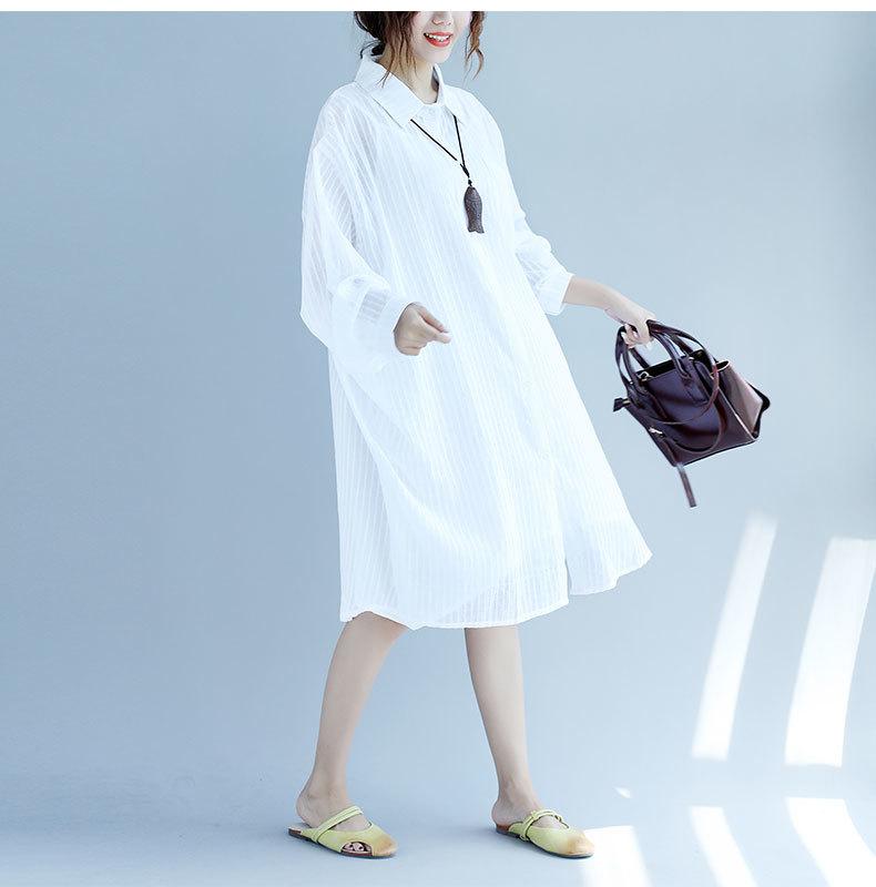 大きいサイズ ゆるシルエット★ストライプ柄ロングシャツ シャツワンピース 長袖 薄手 UV・冷房対策