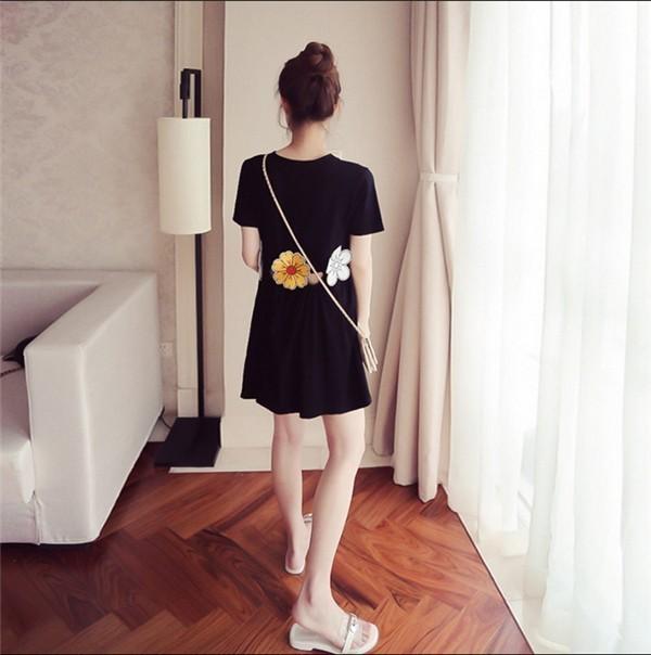 レディースワンピース 韓国無地 スリム 韓国のファッション 上品 五分袖 学院? ハイウエスト プリントワンピース ハイセンス 着心地いい おしゃれ 夏 スリム セール★ レディースワンピース