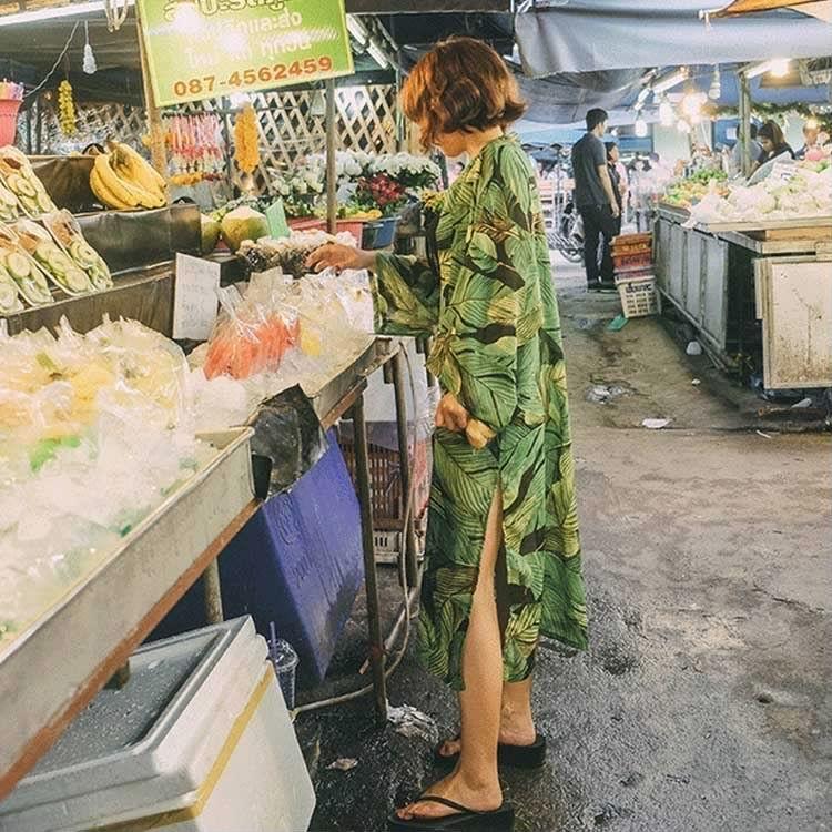 シフォンシャツ ロング シャツワンピース 半袖 UVカット カーディガン 羽織り 前開きシャツ 紫外線カット 葉プリント羽織 冷房対策