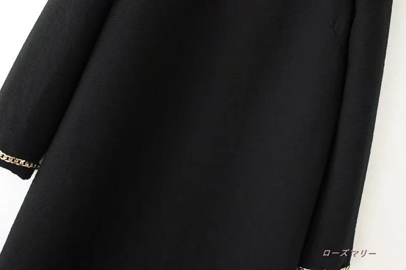 【ローズマリー】欧米風2017秋新型女装ファッション百搭クルーネック袖口詳細装飾のワンピース ヴィンテージ調  ベーシック 大人気 長袖ワンピース かわいい-QQ3638