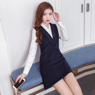 秋冬 ワンピース レイヤード 長袖 スレンダーライン シンプル レディーズ女性 カジュアル ファッション 合わせやすい