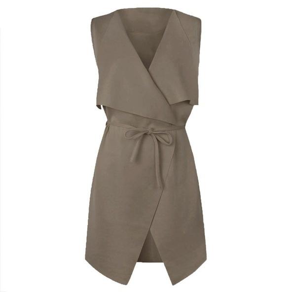 女性ノースリーブケープベルト付き滝カジュアルソリッドカラードレス