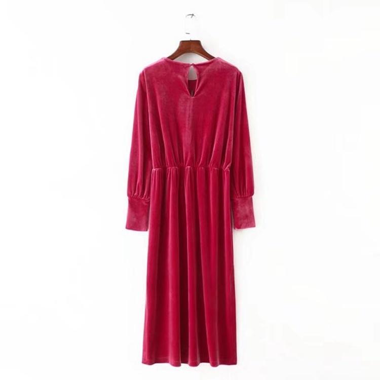 修身長袖丸首欧米スカート女貿易でロング·ベンツビロードのワンピース