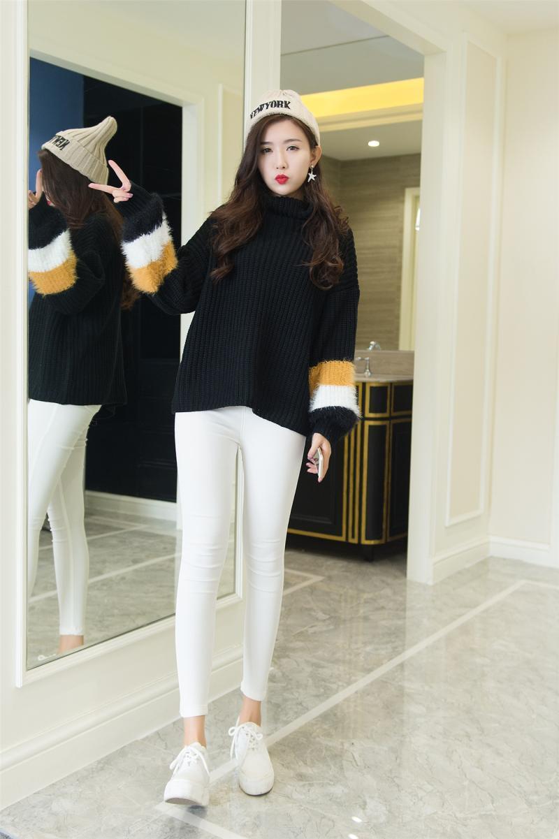 高級品質 大活躍 韓国ファッション 超人気★/EXO/ 可愛すぎ 個性的袖 3色 ニットプルオーバー/タートルネックニット/体型カバーもトップス/シャギーニット/ニットトップス/レディース