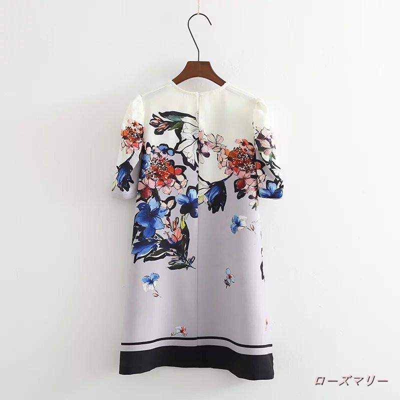 【ローズマリー】新型女装欧米百搭対比色半袖直筒裙ゆったりラウンドネックのプリントのワンピース スイート 花柄 プリント ベーシック かわいい 半袖ワンピース -QQ1675