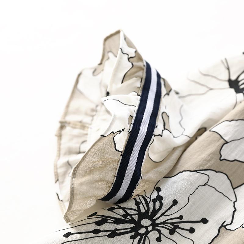 送料無料 花柄 ワンピース 半袖 喇叭袖のフレアー