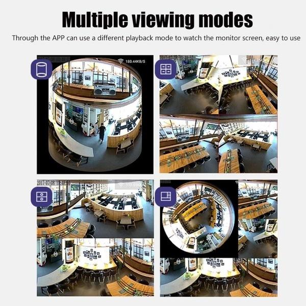 360度パノラマ1080P隠しIRカメラ電球Wifi FishEye CCTVセキュリティ(サイズ:A)