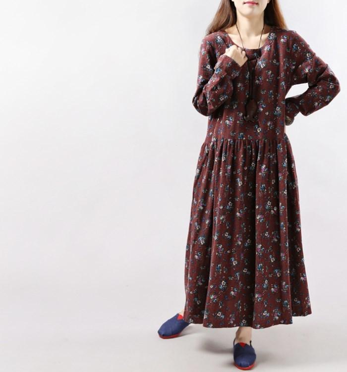 ワンピース 長袖 リネン混 ロングワンピース 花柄 ポケット付き 秋ファッション ワンピース 大きいサイズ 送料無料