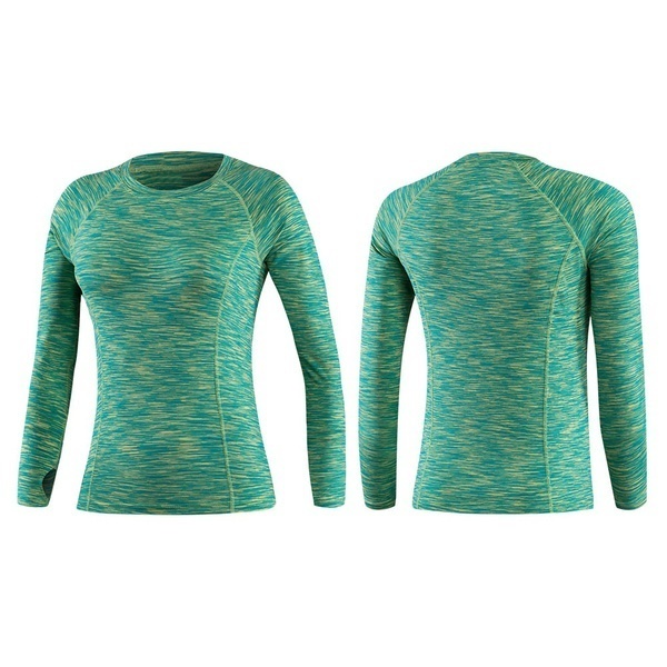 女性のトレーニングランニングスポーツ服のための圧縮Tシャツ長袖ベースレイヤーアスレチックシャツ