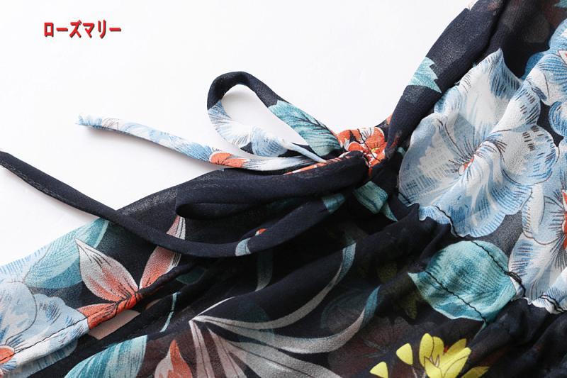 【ローズマリー】欧米風詰め襟透視花卉プリント両側·ベンツガウン式のシフォンワンピース スイート 花柄 ヴィンテージ調 花柄  ベーシック-QQ5953