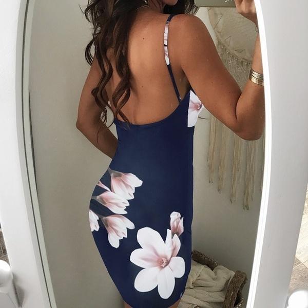 レディースファッション不規則な花のプリントバックレスボディコンスリップドレス