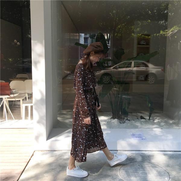 【送料無料】レディース ワンピース スカート 長袖 花柄  カジュアル ブラウン ファッション 2017 新作