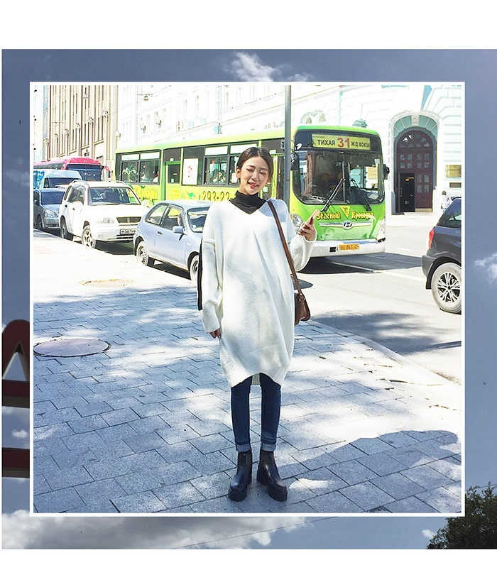 MERONGSHOP(メロンショップ)ラインVネックニットワンピース 韓国 韓国ファッション トップス ワンピース ニットワンピ ゆったり Vネック ざっくりニット 体型カバー 大きいサイズ マタニテ