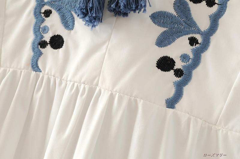 【ローズマリー】2017秋新型欧米風ファッション女装刺繍タッセルワンピース着やせゆとりをハイウエストスカート 刺繍タッセルワンピース  ベーシック 大人気 かわいい 刺繍レース-QQ1812