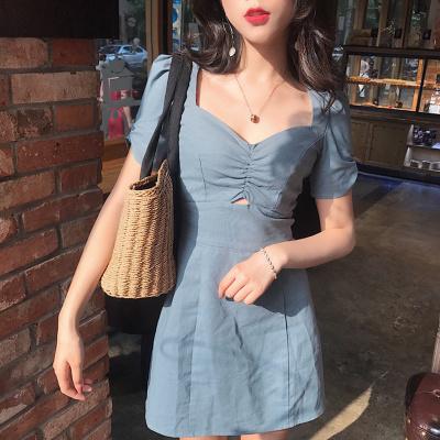 夏 新しいデザイン 女性服 韓国風 スウィート 背中開き 短袖 ワンピース  ハイウエス
