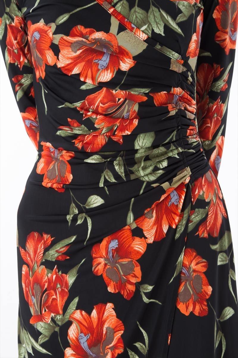 フィフィーユ(FIFILLES)ワンピース T1・T2・T3サイズ・大人ワンピース 花柄 レディース・7分袖・ひざ丈・カシュクール・上品