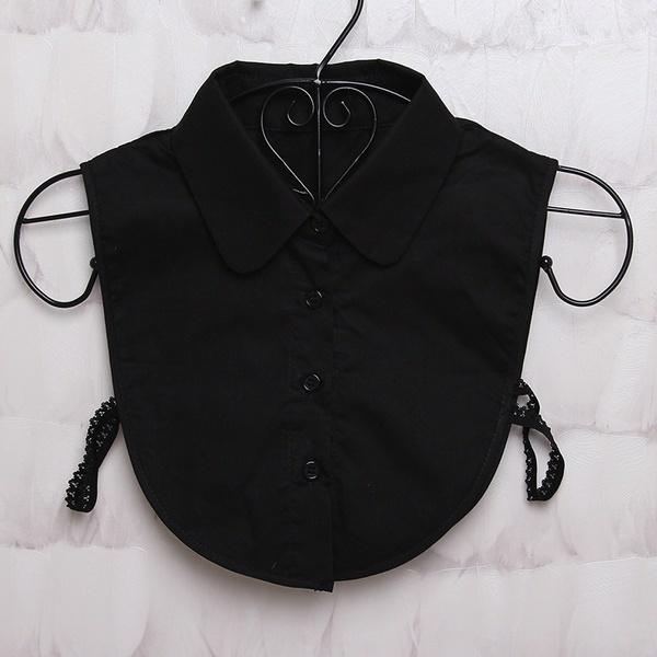 女の子の女性の女性成人着脱可能なラペルシャツ偽の襟ファッションソリッドカラー偽のブラウスネクタイ