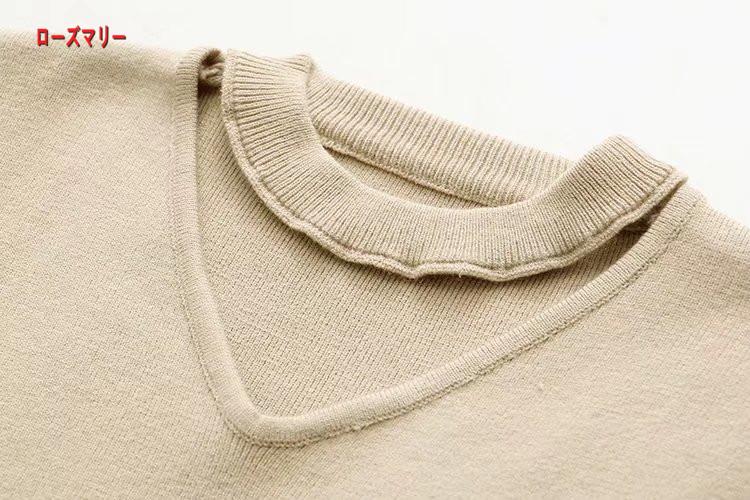 【ローズマリー】2017冬文芸Vネックニットワンピースのカラーが長くゆったり個性レース切り替え毛スカート 長袖ニットワンピース  ベーシック 大人気-QQ5598