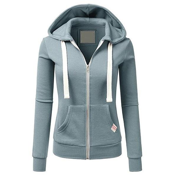 冬のレディースファッションロングスリーブソリッドカラーパーカジッパージャケット
