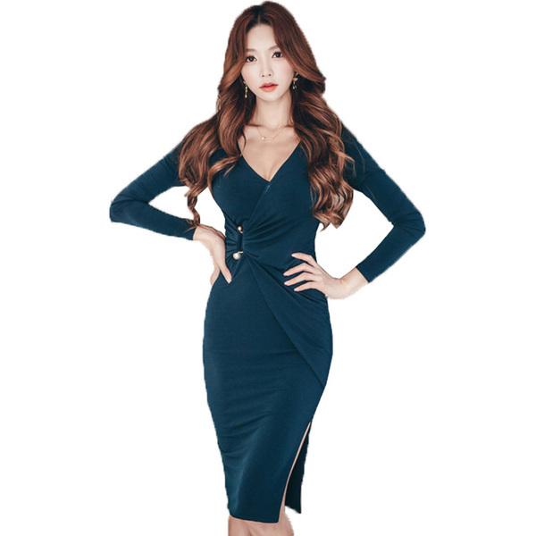 2016年秋冬新作長袖Vネックミドルロングタイトスカート横スリット着やせタイプレディースドレス大きいサイズ小さいサイズ