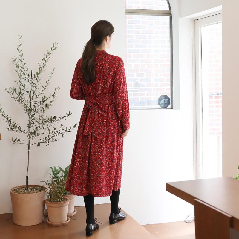 ❤️フェミニンロングワンピース レッド❤️アウターも合わせやすいワンピース[CHERRYKOKO][秋冬新作][送料無料]✯韓国ファッション✯C710MAOP2