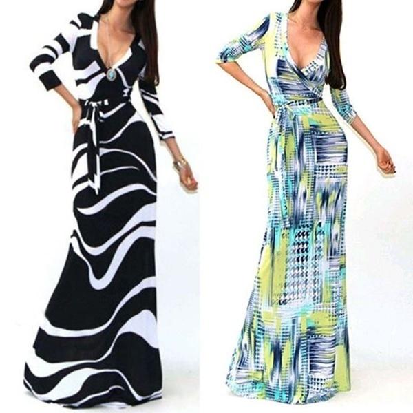 S-XXXLプラスサイズセクシーな女性のパッケージマキシドレスファッションVネックロングスリーブプリントロングカジュアルドレス