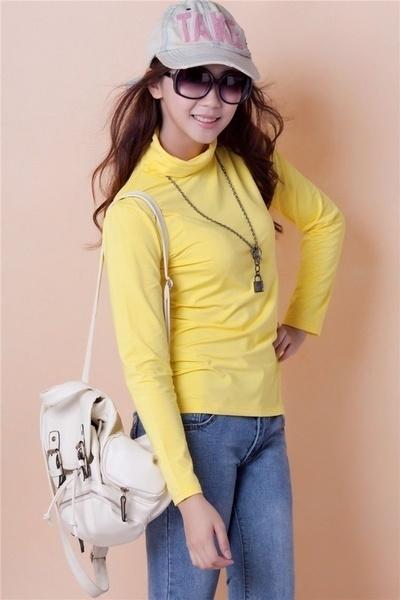 女性のカジュアルスリムフィットターメレックハイネックロングスリーブTシャツトップスティーシャツ