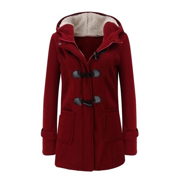2017ファッションウィメンズウィンタージャケットクロールクラスプウールブレンドクラシックピーマンウォームコート