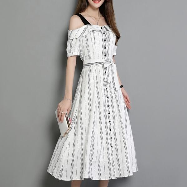 レディースワンピースチューブ・ドレス キャミ ロング・スカート韓国風スカート韓国ファッションシャツ女性らしいワンピース登場