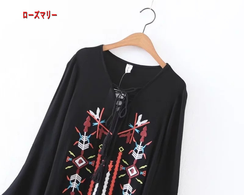 【ローズマリー】民族の風格のボヘミアのロングスカート刺繍ビーチ旅行のワンピース  花柄 ビーチワンピース マキシワンピ ヴィンテージ調  ベーシック-R581