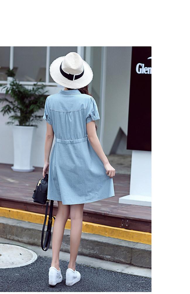 女性デニムワンピース 綿麻 無地 韓国ファッション ワンピース 大人の女性の必須 シンプル ドルマンスリーブ 短袖  レディース   スリム・ライン 着痩せ 夏ファッション ワンピース 大きめ