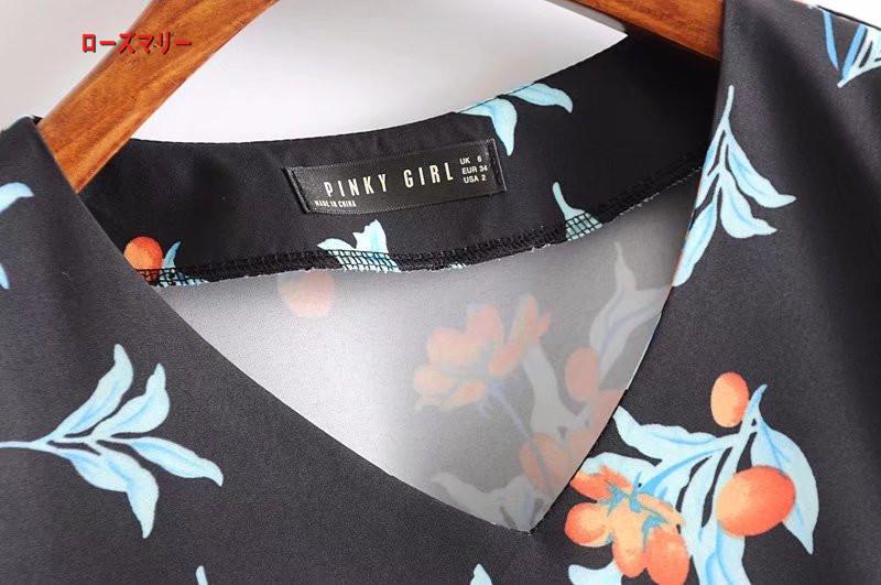 【ローズマリー】プリントのVネックサイドファスナーゆったりワンピース欧米風のファッション百搭フリル裾でロングスカート ワンピース 花柄 長袖ワンピース ヴィンテージ調-R084