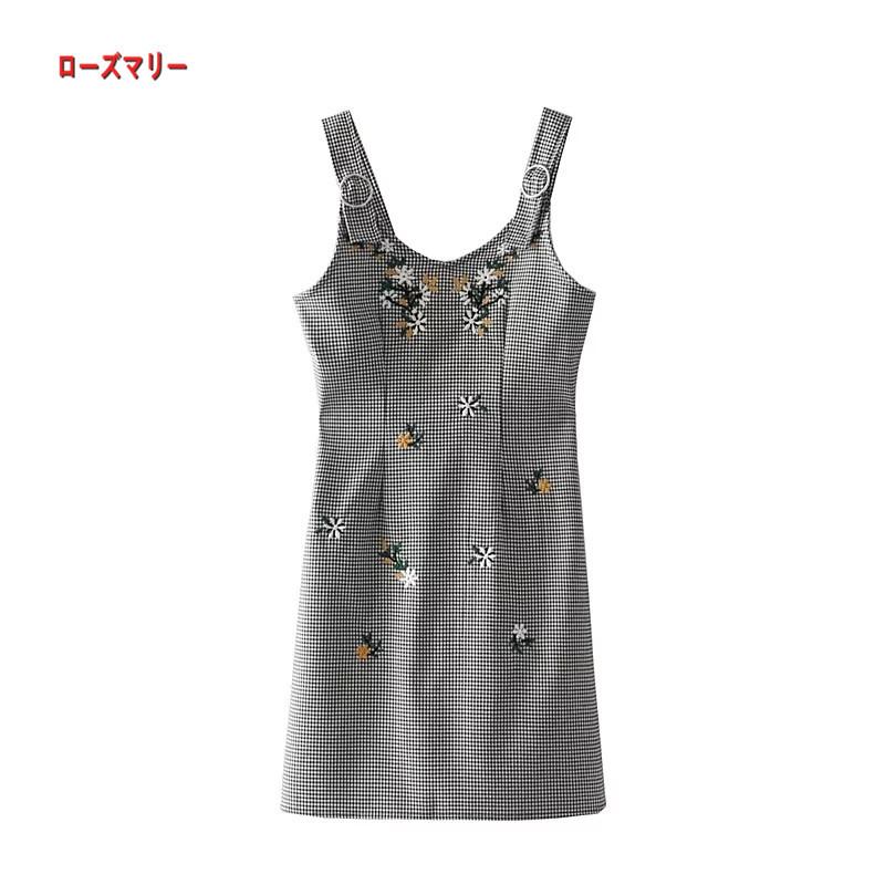 【ローズマリー】細かいチェック花刺繍さんが修身つりスカート スイート 花柄 キャミワンピース ヴィンテージ調  ベーシック 大人気 刺繍レース-QQ5746
