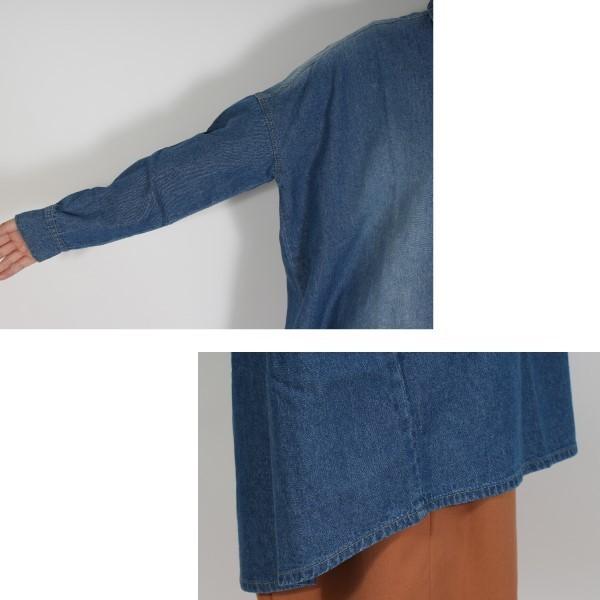 デニム ワンピース ワンピ シャツワンピース Aライン オーバーサイズ 長袖 6オンス レディース サックス ブルー ネイビー