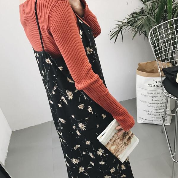 【送料無料】レディース ワンピース スカート 長袖 花柄  カジュアル ファッション 2017 新作