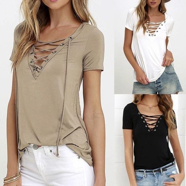 8色の女性のファッション半袖TシャツソリッドカラーVネックTシャツ
