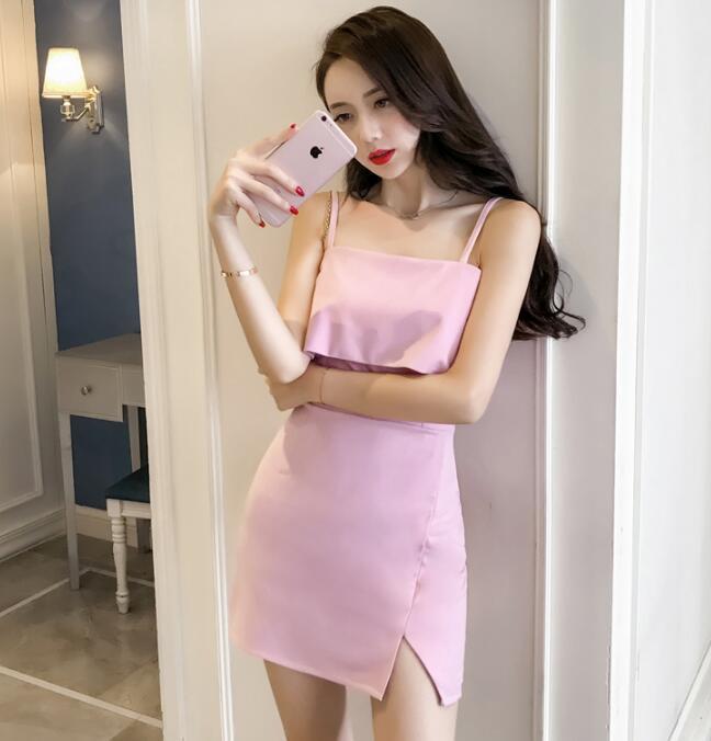 韓版小さな風薫る女装胸元セレブな雅修身セクシーベスト、ドレス,タッセルレースワンピース