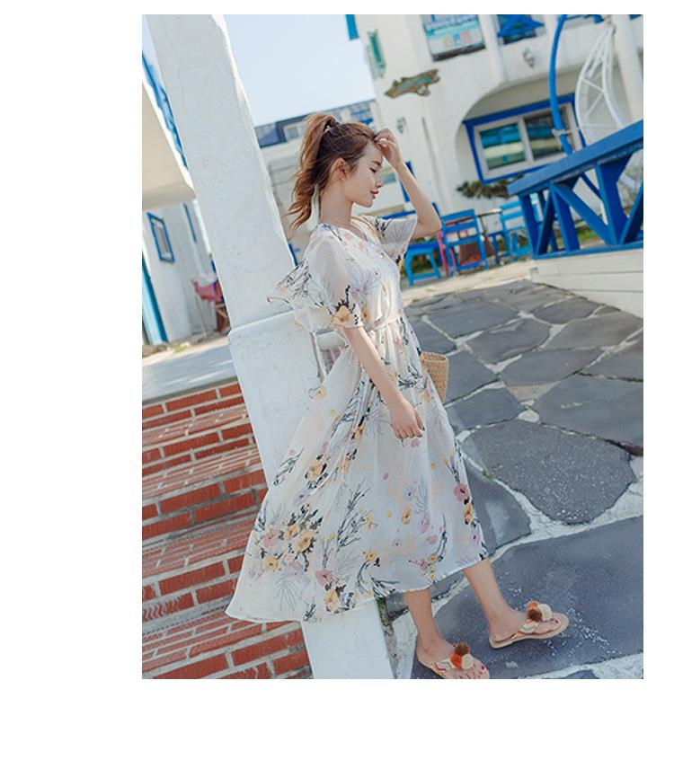 [55555SHOP]レディース プリント リボン  ワンピース 新作 チュニック ドレス 大きいサイズ