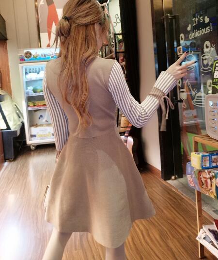 秋のファッション★韓国ファッション★女性ファッション★ラインがきれいなストライプニット・ワンピース★・ニット★デートファッション★