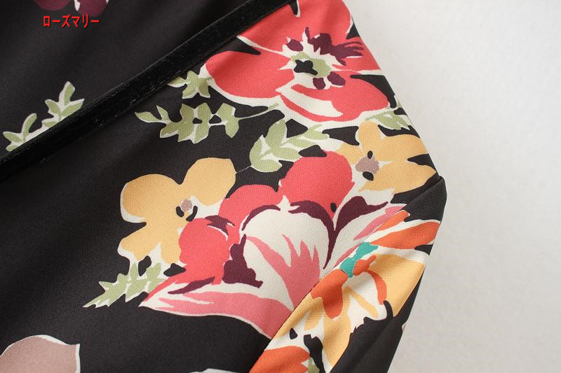 【ローズマリー】欧米風の女装プリントビロードフリルスカート迷笛Vネックワンピースに色プリント長袖 スイート 花柄 ヴィンテージ調 フィットスタイル  ベーシック 大人気-QQ4835