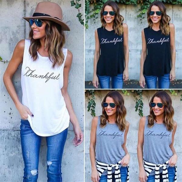 女性の夏のTシャツファッション英語の文字盤プリントノースリーブのベストTシャツ