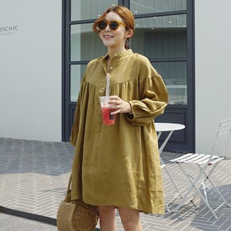 【RE】【RE】初秋の新型韓国復古色2017麻綿ゆったりワンピース女のシャツワンピース 韓国ファッション 高品質 ゆとり ワンピース かわいい-SS515