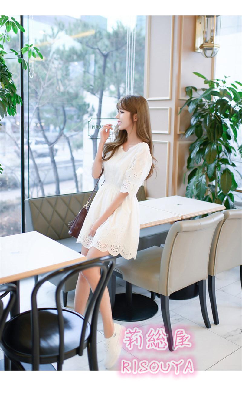 レディース ミニ丈 ショート丈 白いワンピース 綿 可愛い デート 結婚式 二次会 半袖 普通着 ミニ丈 セレブ風 リゾート風