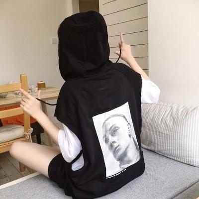 韓国風 BF 帽子付き 個性 頭の肖像画 プリント ヘッジ セーター 女子学生 ルース
