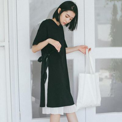 [55555SHOP] 夏★新しいデザイン★シンプル★単一色★丸襟★ひもあり★中長デザイン★Tシャツワンピース★