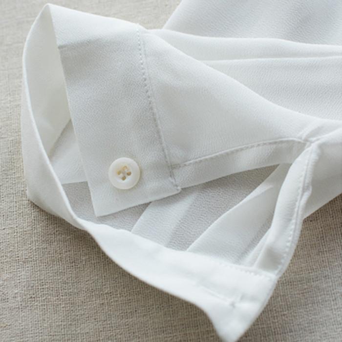 A0137 ワンピース【サイズM L】ホワイト レディースファッション/定番商品 ボダン付き 美ゆる ベーシック  ゆんたりタイブ シフォン 体型カバー【送料無料】