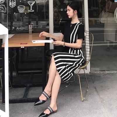 韓国 個性 スプライシング 包帯 中長デザイン ハイウエスト 着やせ 女 夏 短袖 ワン