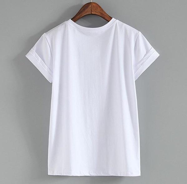 レディースファッションOネック半袖ローズ無しプリントTシャツトップスプラスサイズXS-5XL