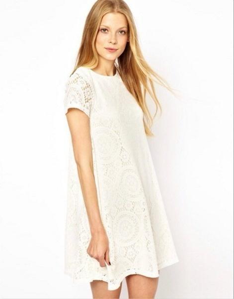 新しい夏のファッション女性の半袖ドレス中空レースビーチミニドレスVestidosプラスサイズS-XXXXL