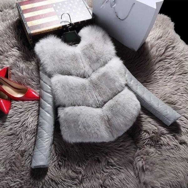 ファッションウィメン毛皮の女性のアウトレットコートフェイクファーエレガントなミンク毛皮のカジュアルオーバーコートリムーバブルスリーブ
